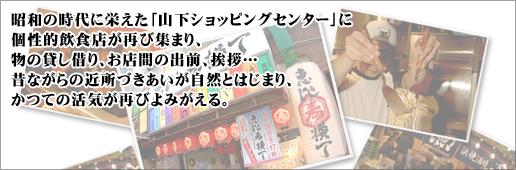 昭和の時代に栄えた「山下ショッピングセンター」に個性的飲食店が再び集まり、物の貸し借り、お店間の出前、挨拶…昔ながらの近所づきあいが自然とはじまり、かつての活気が再びよみがえる。